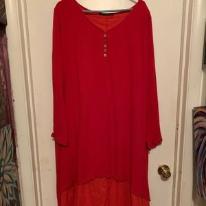 💕Long double layered red dress💕